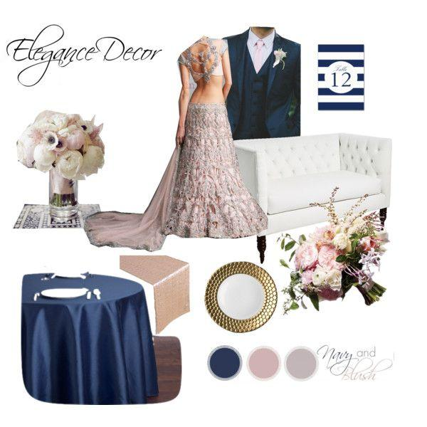 Blush & Navy Reception indian color