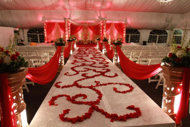 red rose petal aisle design indian wedding decor mandap